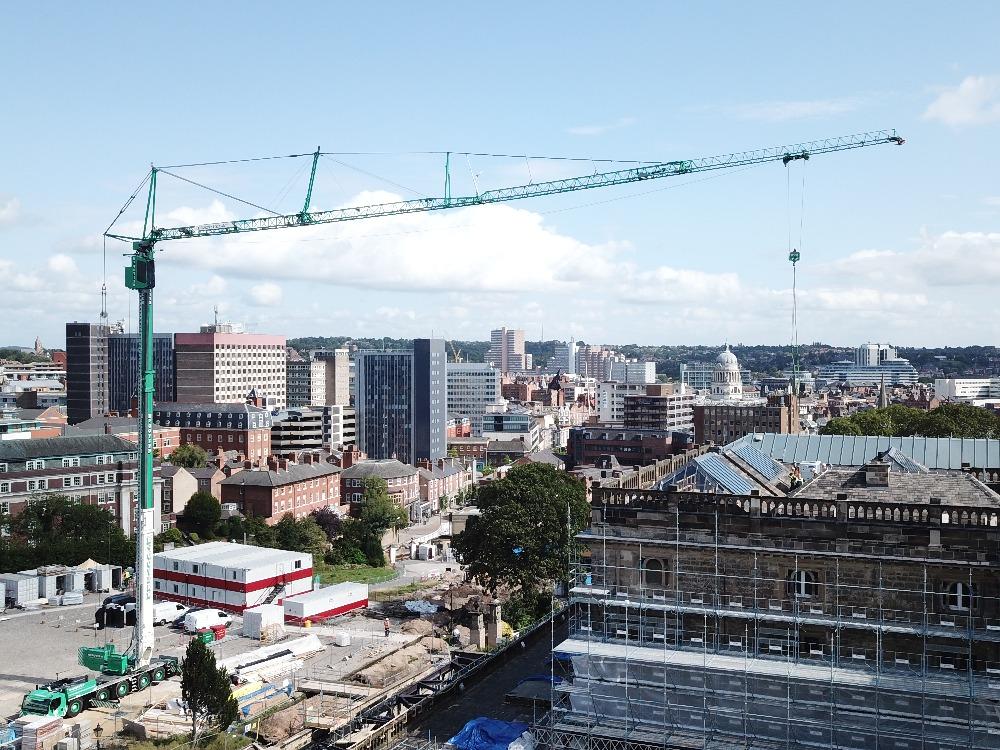 Crane building roof