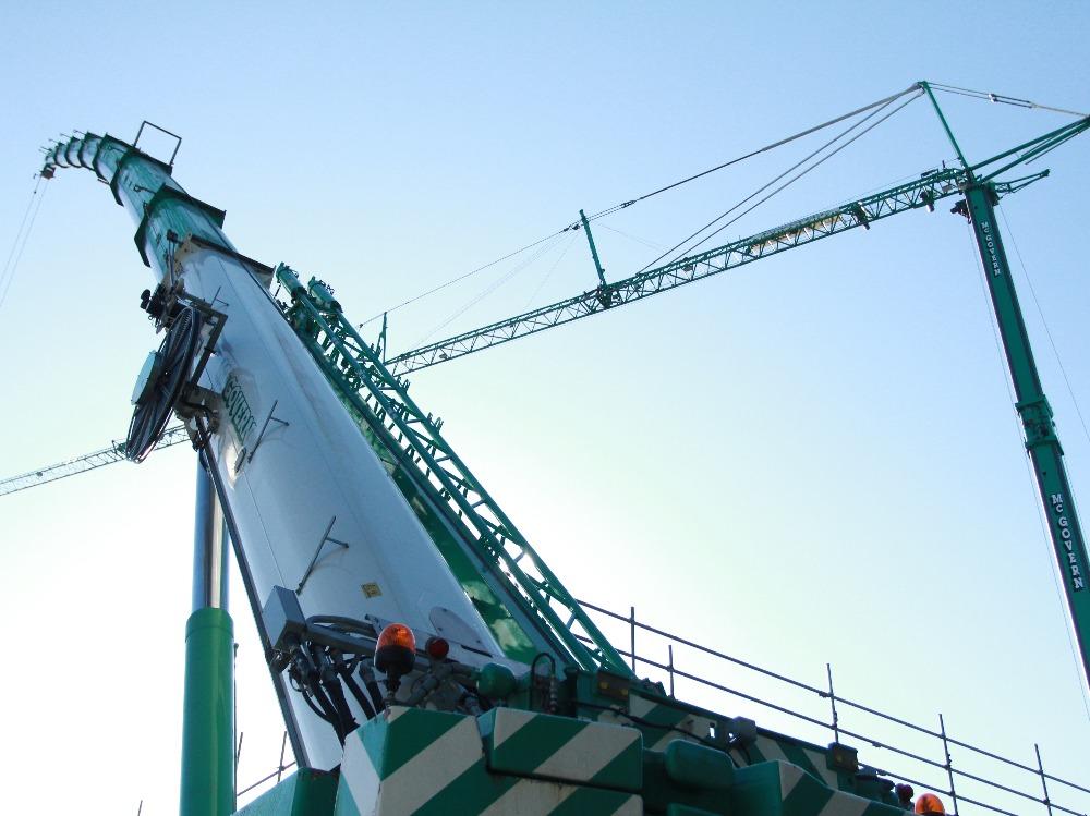 Green Crane from Below